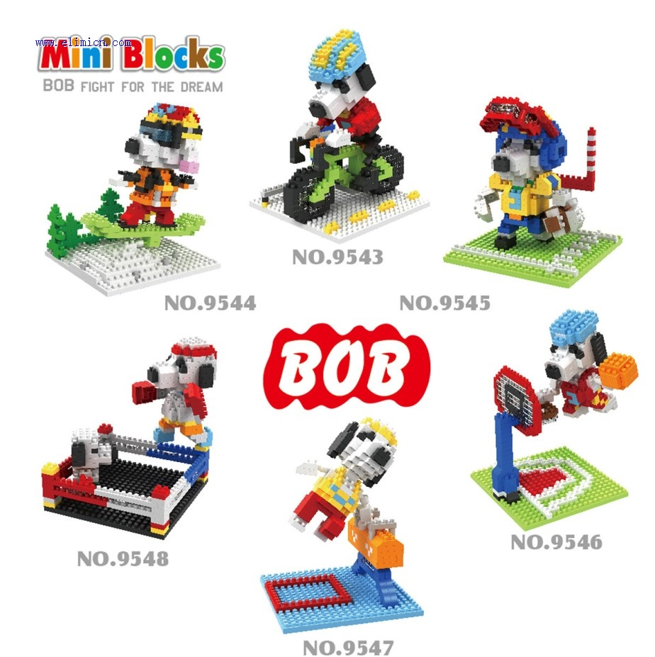 BOB Mini blocks Cartoon Snoopy series 9543-9548