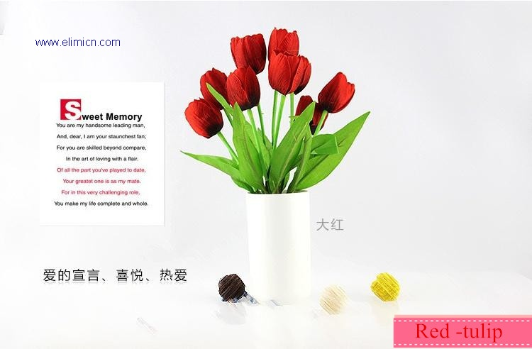Artificial red tulip flower